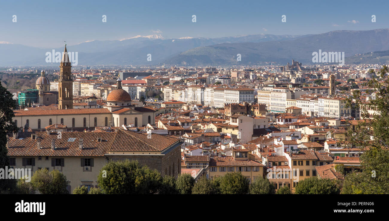Florence, Italy - March 22, 2018: Afternoon sun illuminates the cityscape of Florence. - Stock Image