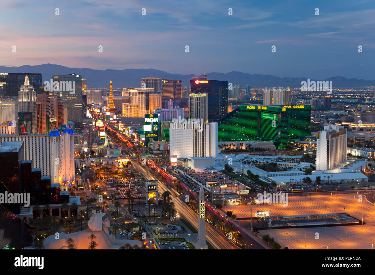 United States of America, Nevada, Las Vegas, Elevated dusk view of the Hotels and Casinos along the Strip - Stock Image
