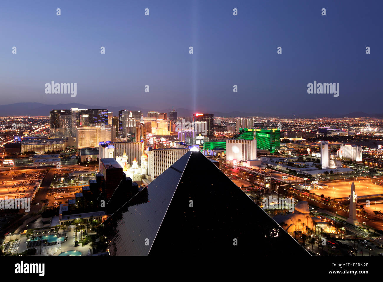 Las Vegas, The Strip at night, Nevada, United States of America - Stock Image