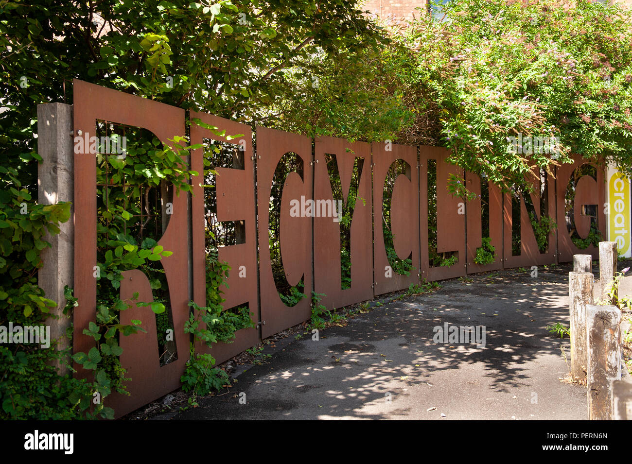 Large 'Recycling' sign at Create in Bristol, UK - Stock Image