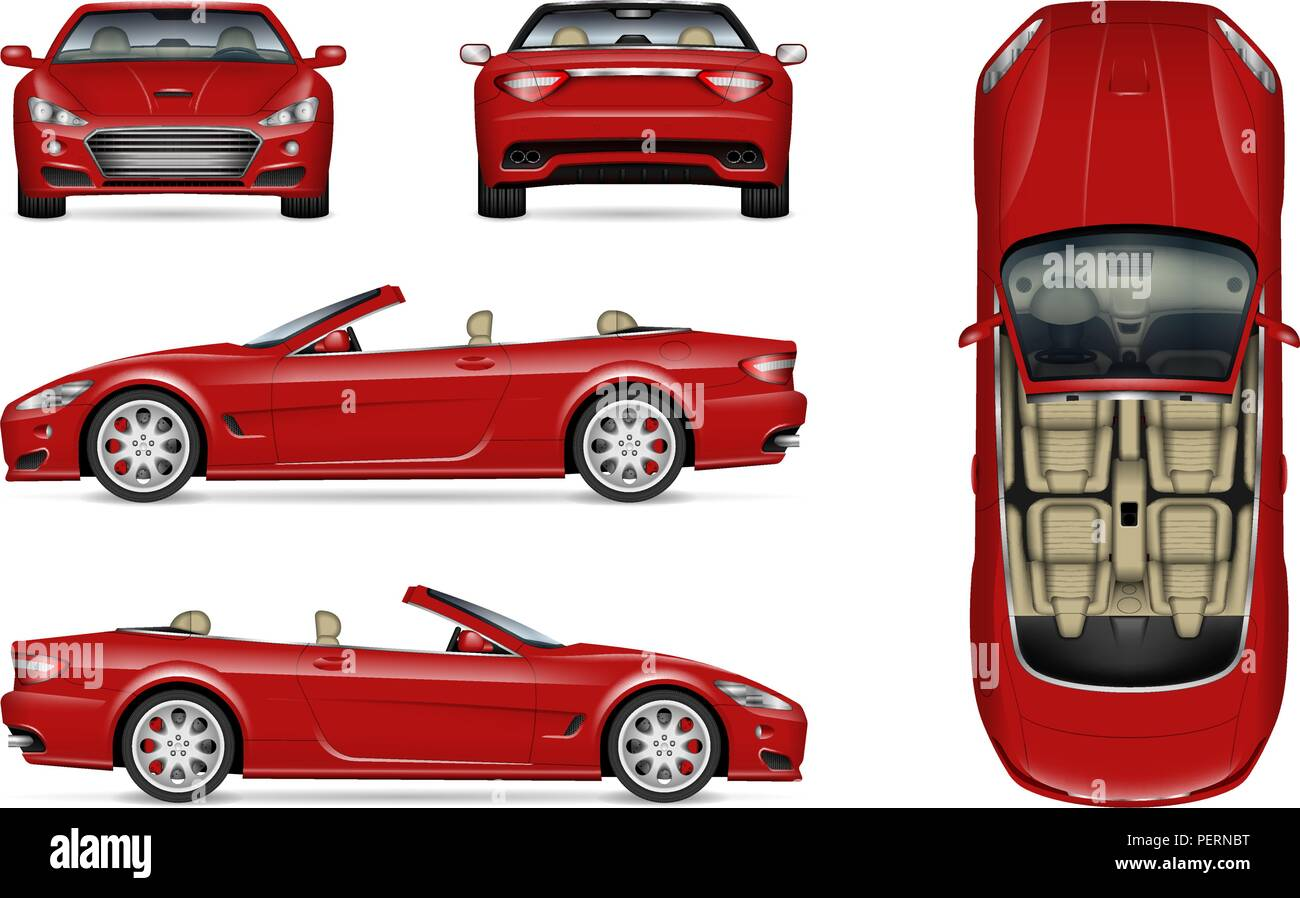 Red convertible car vector mockup on white for vehicle branding, corporate identity. View from side, front, back, and top - Stock Image