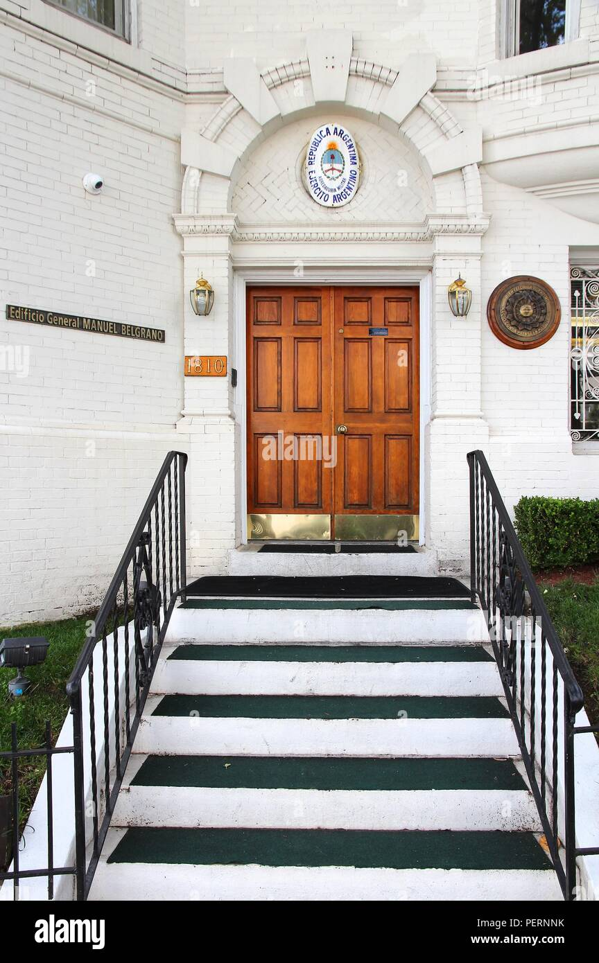 WASHINGTON, USA - JUNE 14, 2013: Military attache to the Embassy of the Republic of Argentina in Washington, DC. It is located at Connecticut Avenue. - Stock Image