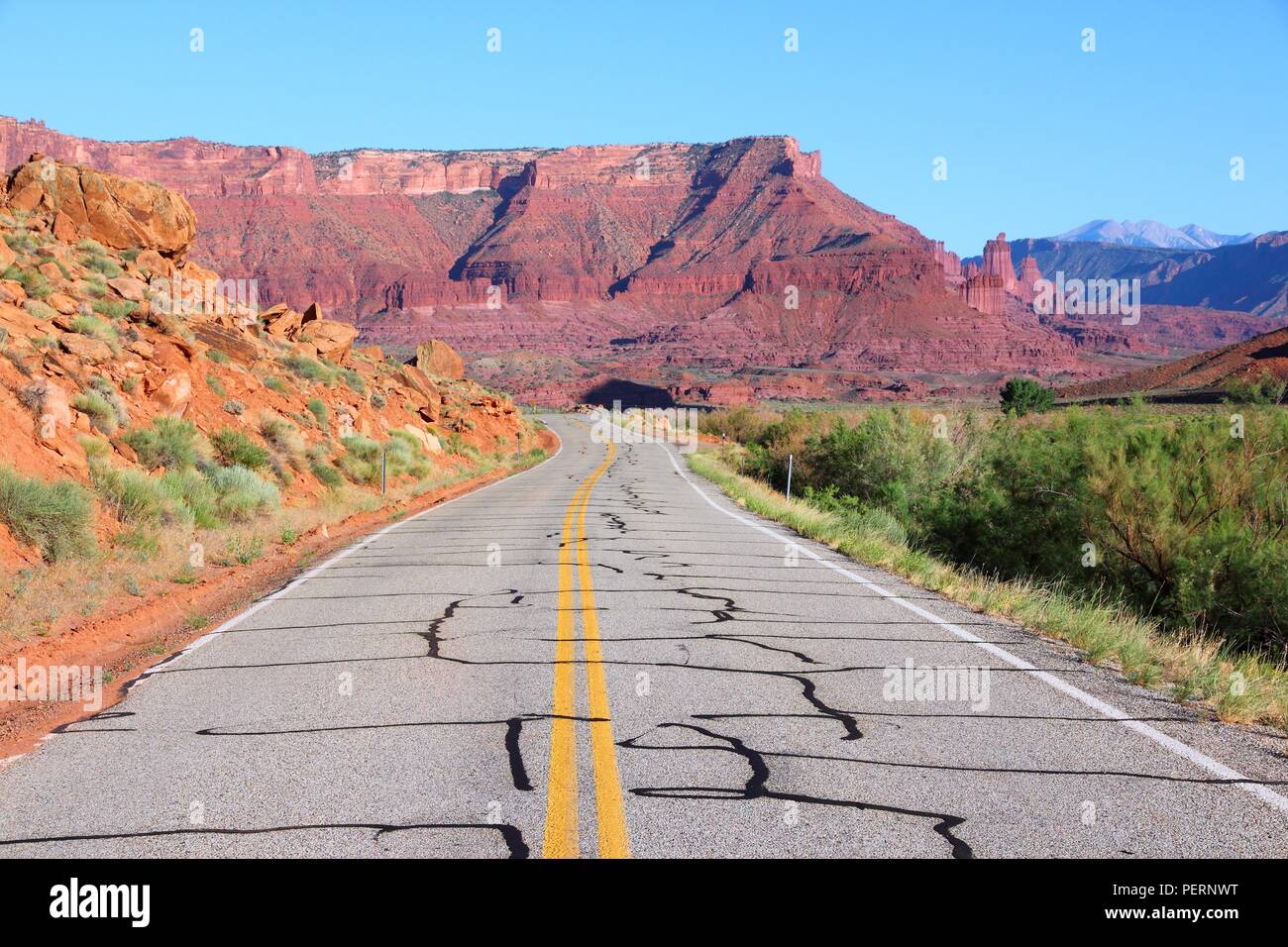 Utah, United States - road through famous Castle Valley. - Stock Image