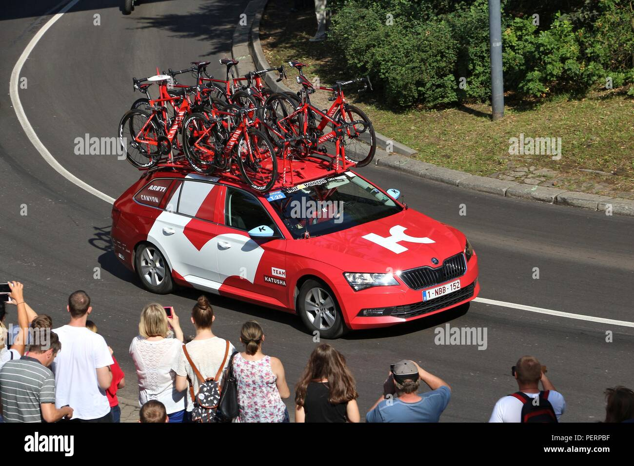 Bytom Poland July 13 2016 Team Vehicle Drives In Tour De
