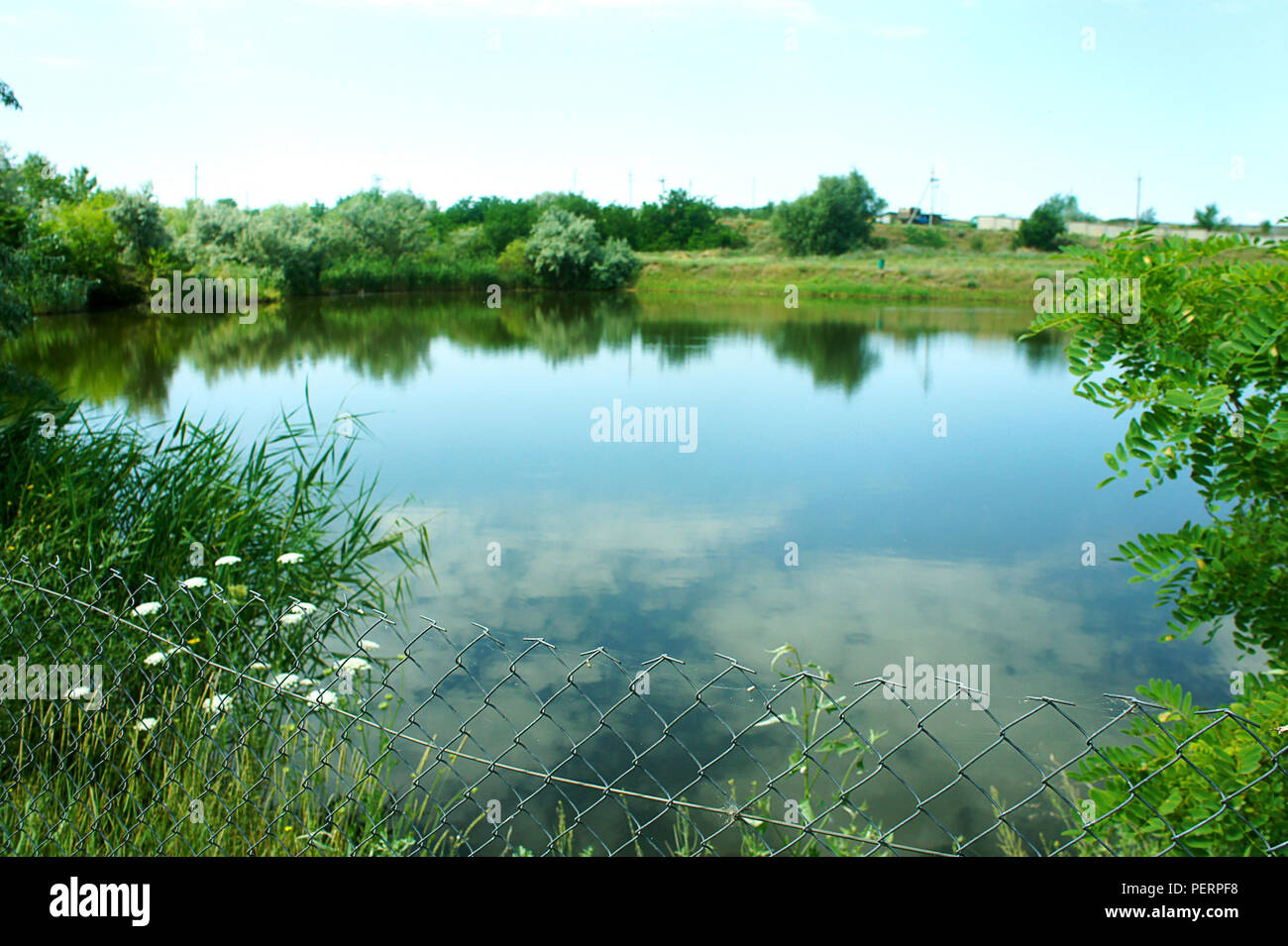 beautiful scenic lake in the morning, quiet peaceful place, nature reserve, Ukraine - Stock Image