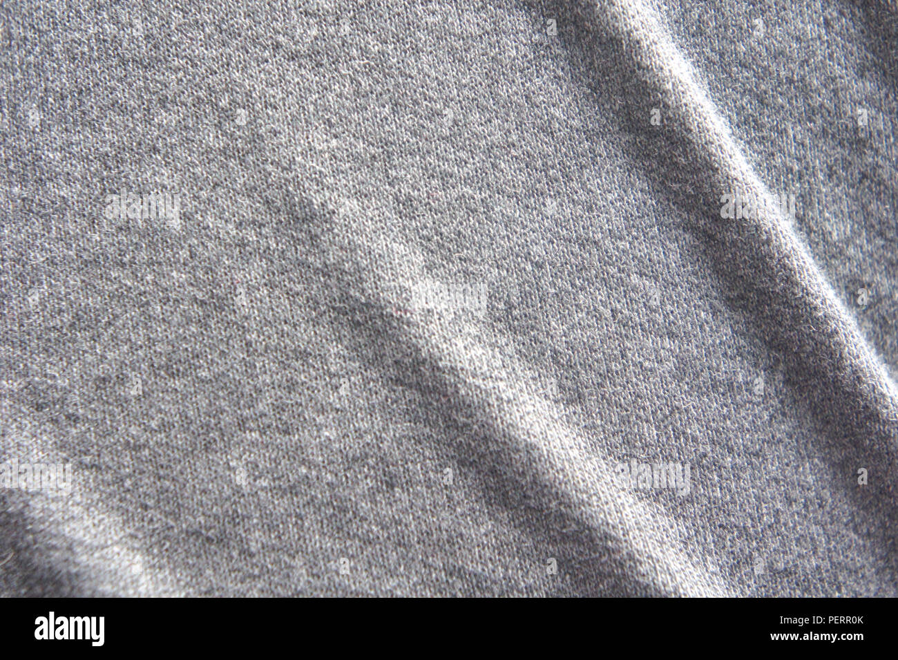 Crumpled fabric texture, cloth background, gray fabric texture background - Stock Image