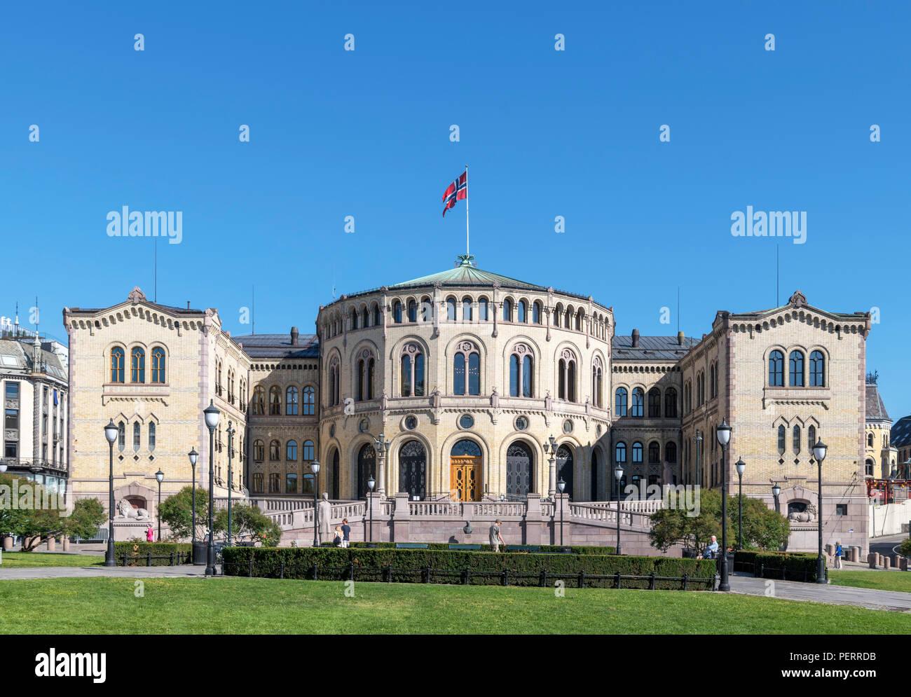 The Norwegian Parliament building (Stortinget), Oslo, Norway - Stock Image