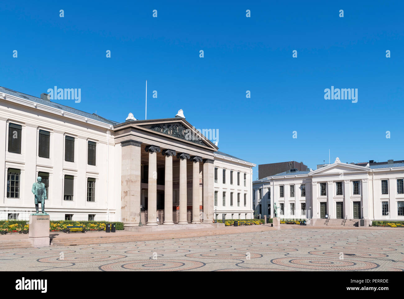 Central Campus of the University of Oslo, now housing the Faculty of Law, Universitetsplassen, Karl Johans gate, Oslo, Norway - Stock Image