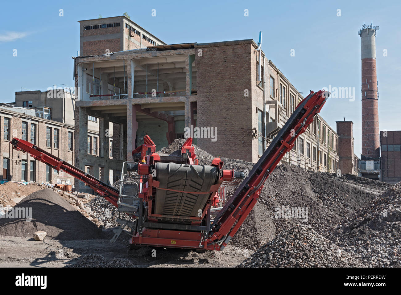 rebuilding and partial demolition of an old former paper mill. - Stock Image