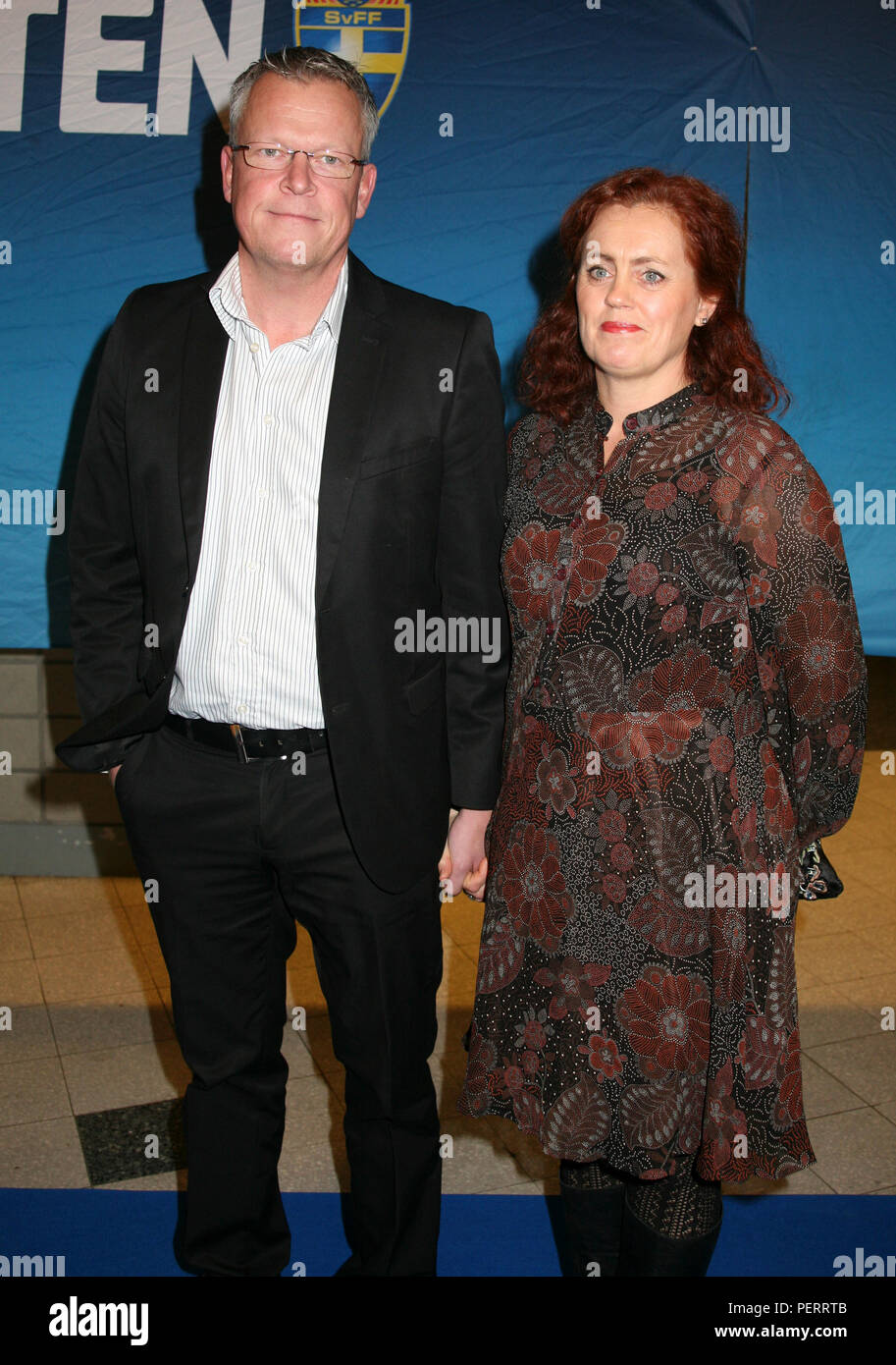 JAN ANDERSSON National coach for football team with wife Ulrika at the Annual football gala 2012 - Stock Image