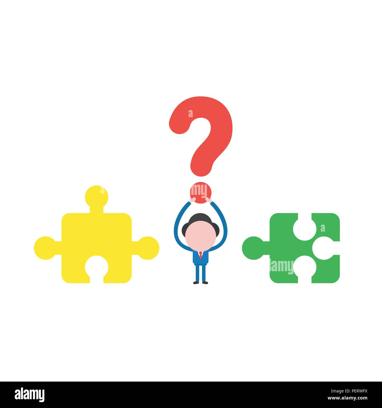 Vector illustration concept of businessman character with incompatible jigsaw puzzle pieces and holding up red question mark icon. Stock Vector