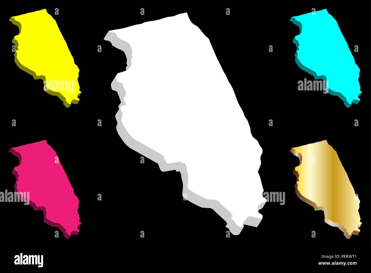 3D map of Illinois (United States of America) - white, yellow, purple, blue and gold - vector illustration - Stock Vector
