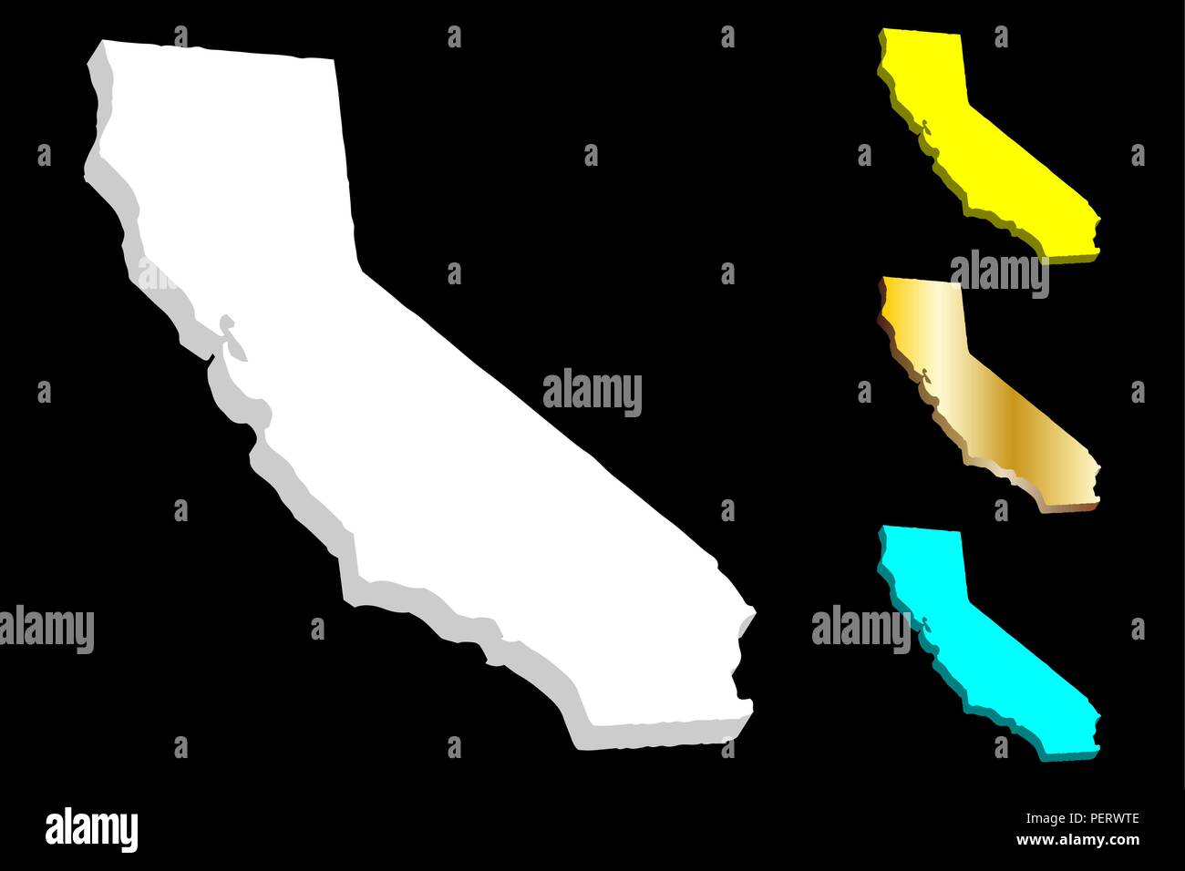 3D map of California (United States of America, The Golden State) - white, yellow, blue and gold - vector illustration Stock Vector