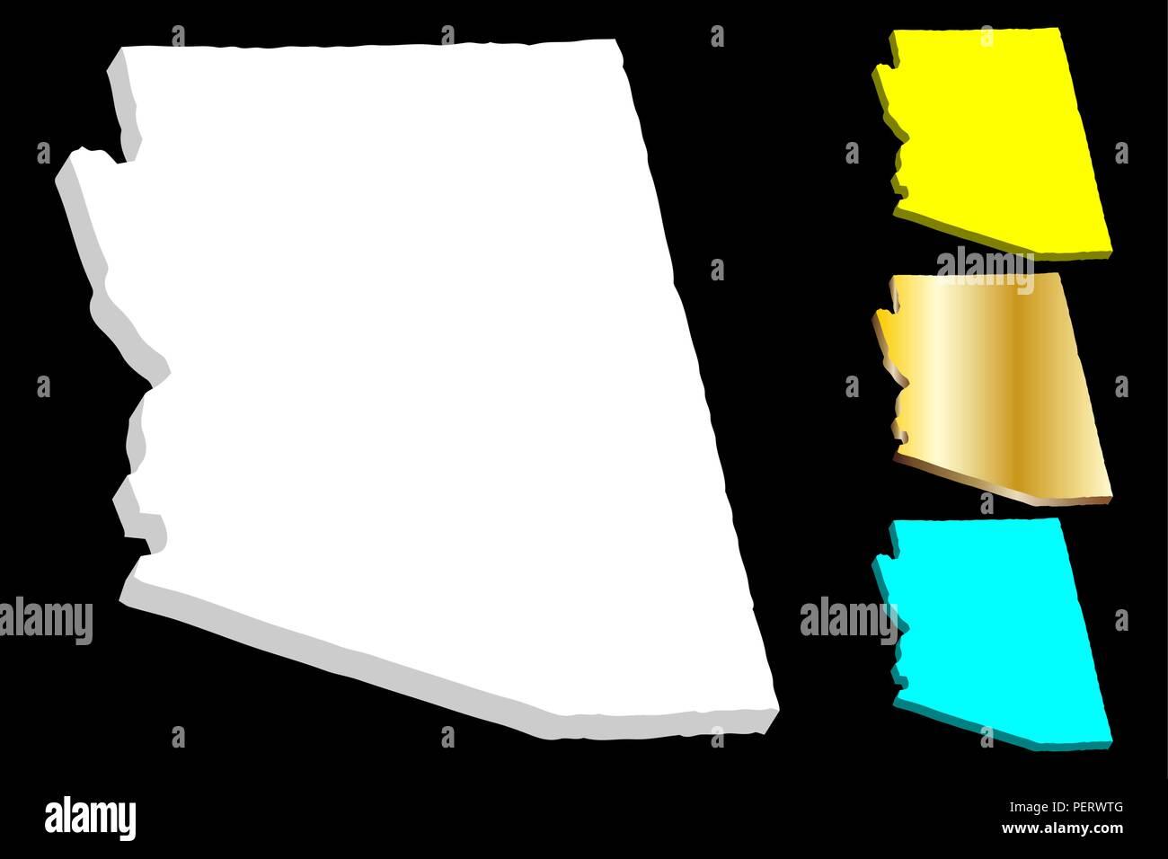 3d Map Of Arizona.3d Map Of Arizona United States Of America White Yellow Blue