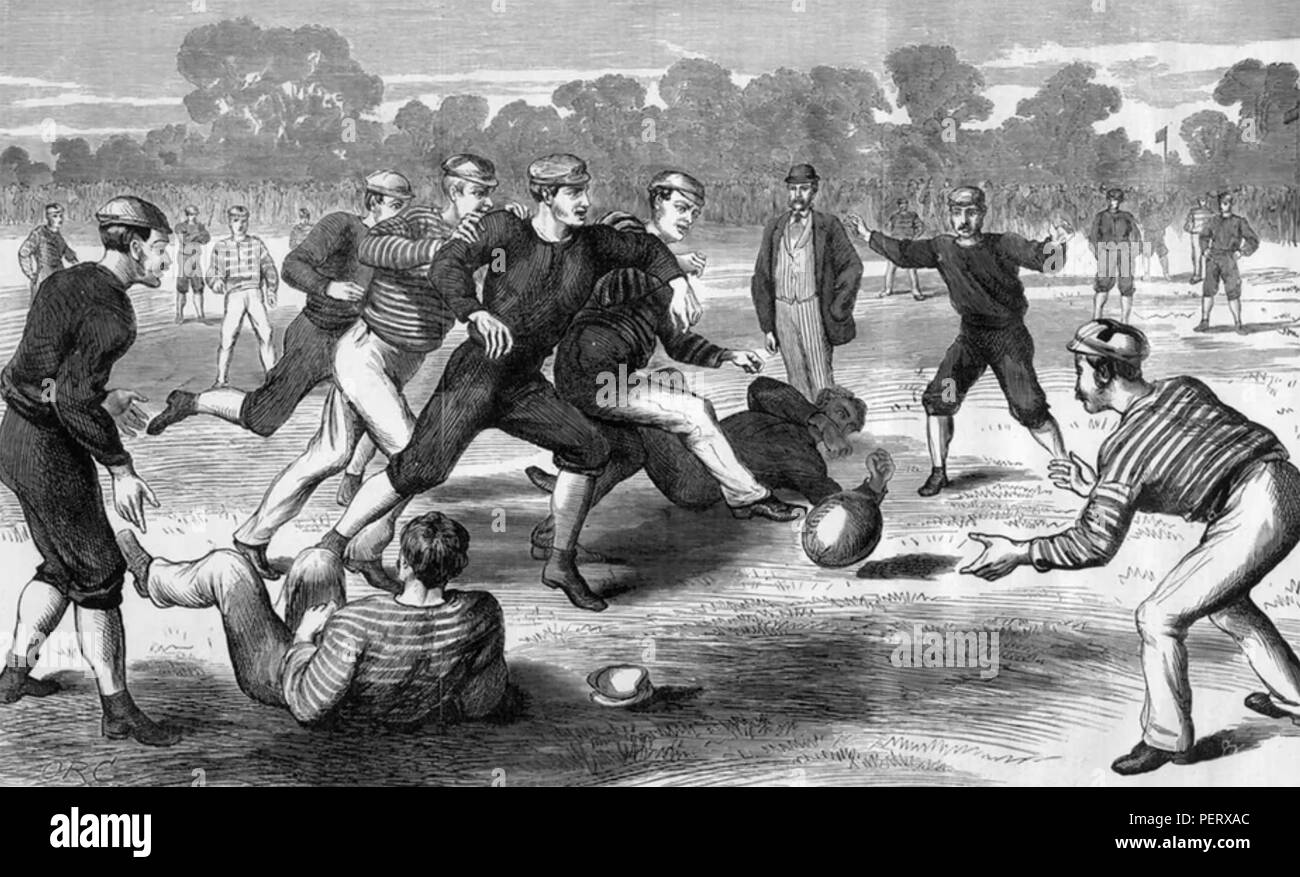 AUSTRALIAN RULES FOOTBALL. Engraving about 1880 - Stock Image
