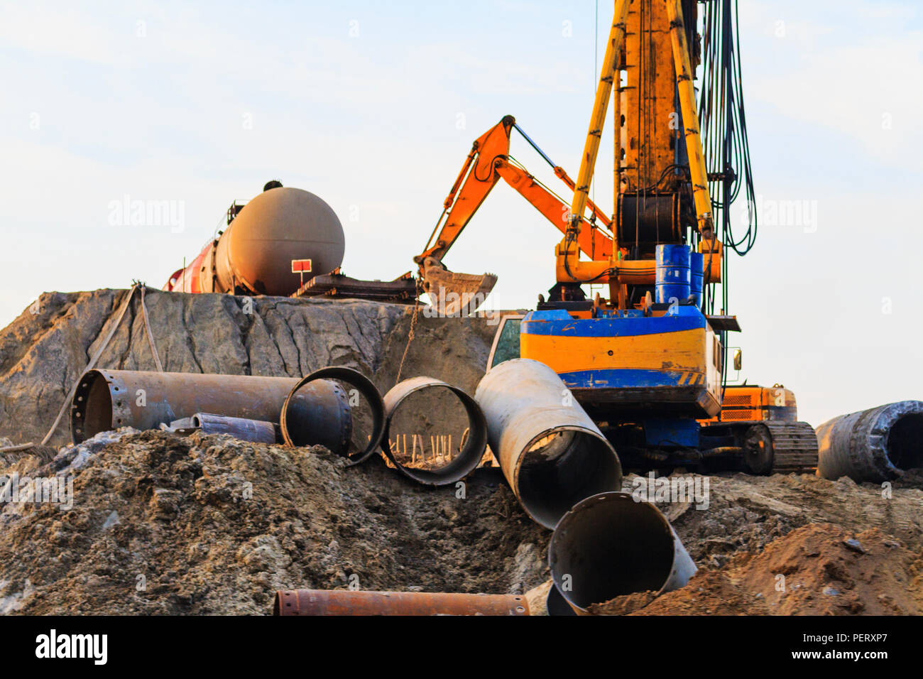 construction of a new railway - Stock Image