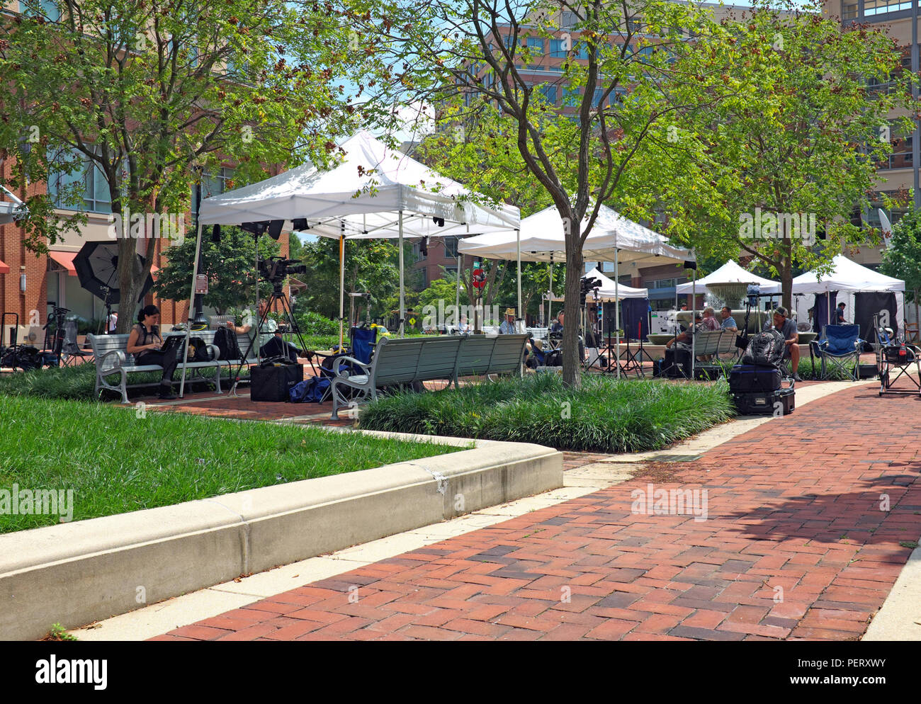 Broadcast media tents and cameras are set up in Courthouse Square outside the Alexandria VA courthouse where the Paul Manafort is convening. - Stock Image