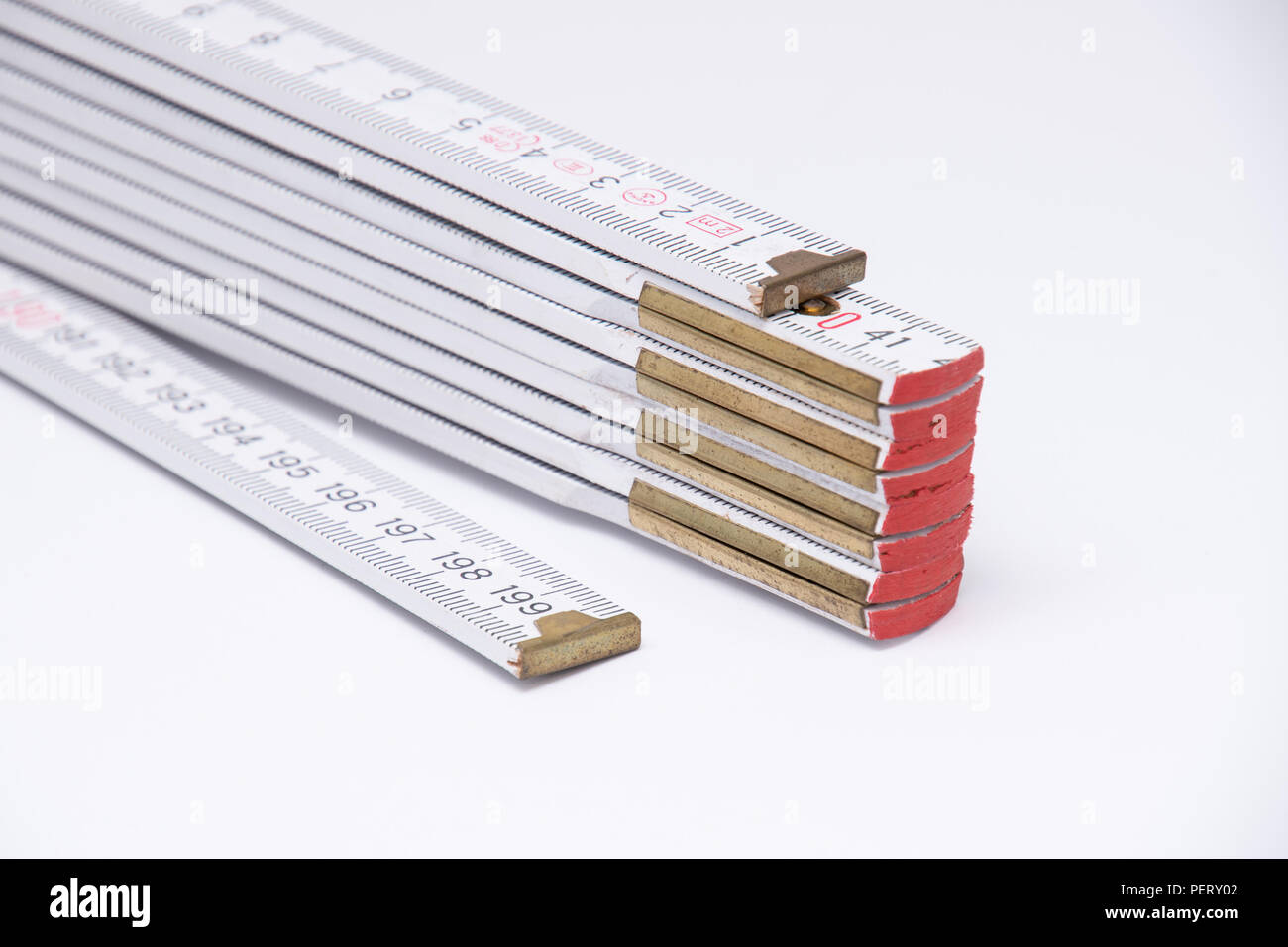 Meter stick yard stick double meter stick in white - Stock Image