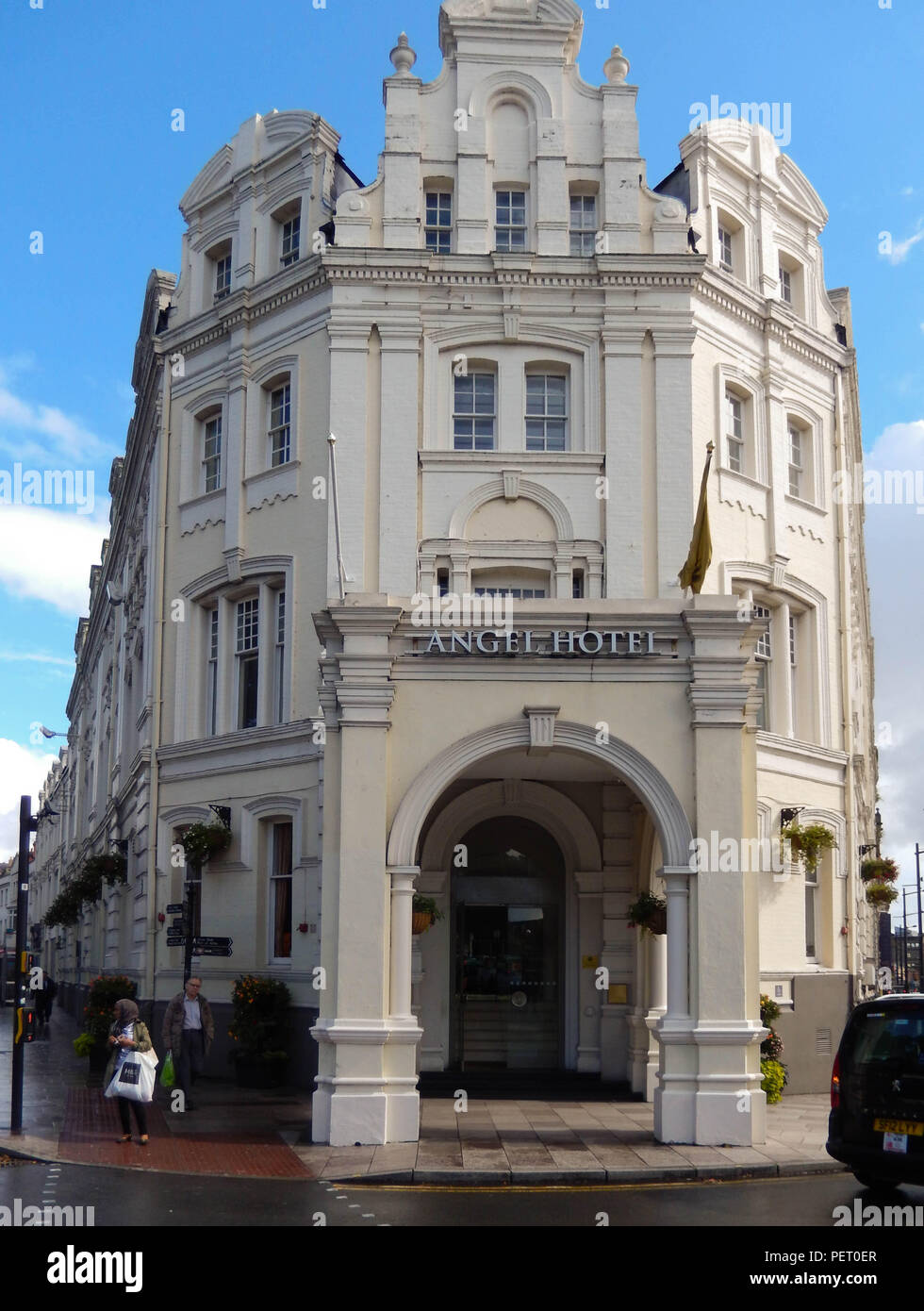Exterior view of The Angel Hotel, a long established hotel in Cardiff city centre. - Stock Image