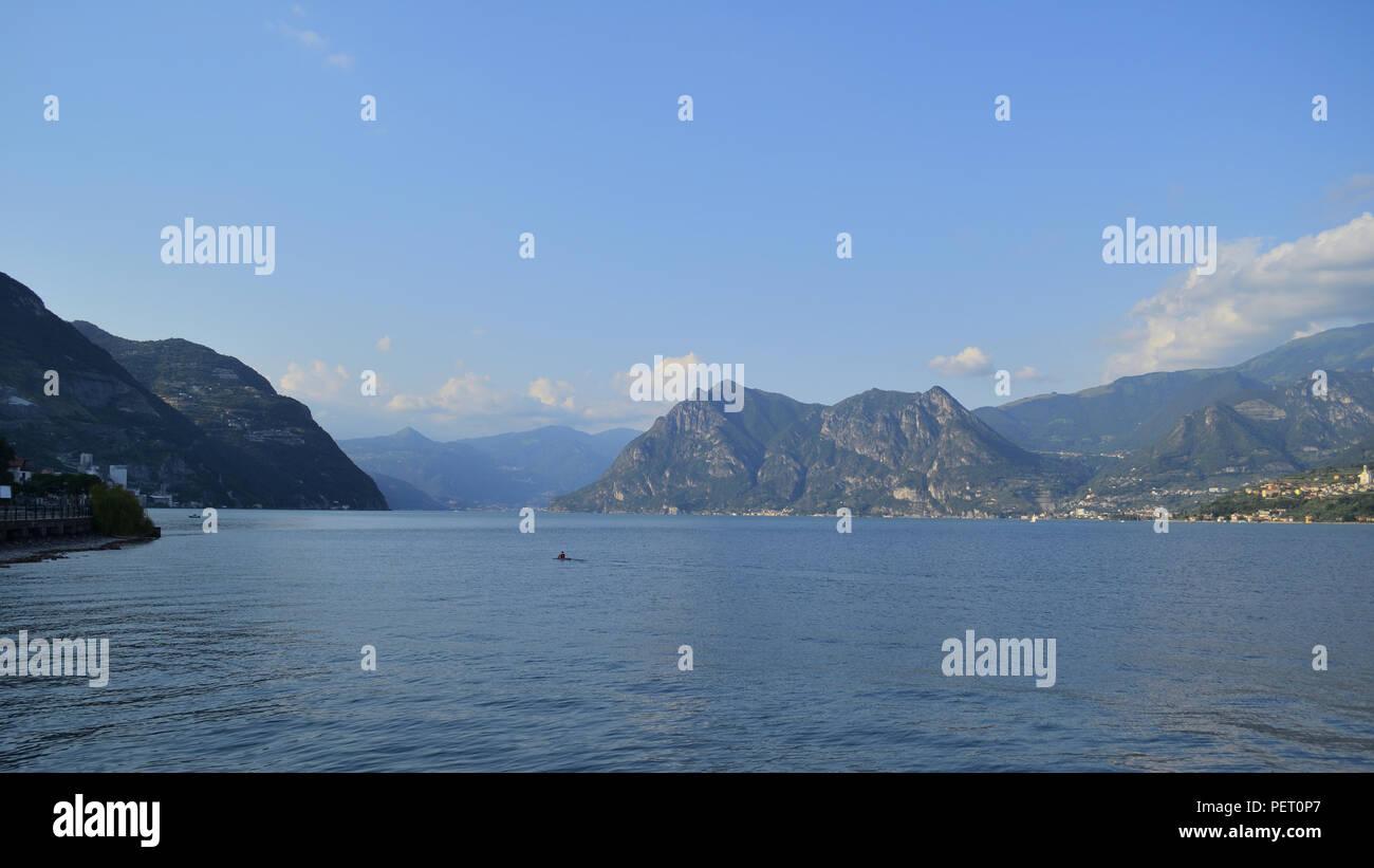 lake landscape, Iseo Lake Bergamo - Stock Image