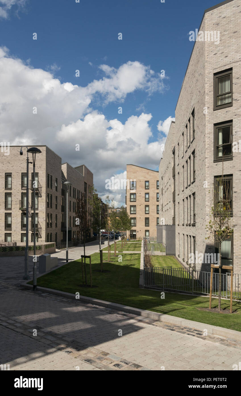 2018 saw the completion of the final phase of public housing renewal in Anderston, Glasgow with new build housing of 206 homes for £25 million - Stock Image