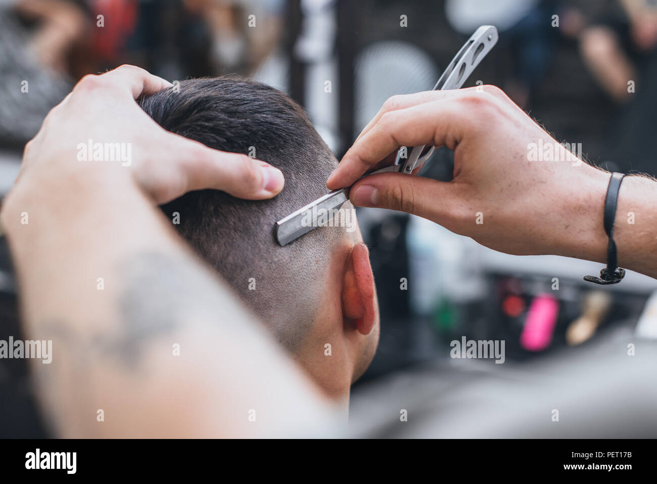Barber Makes An Ideal Hairstyle Haircut Fade Hairdresser Performs
