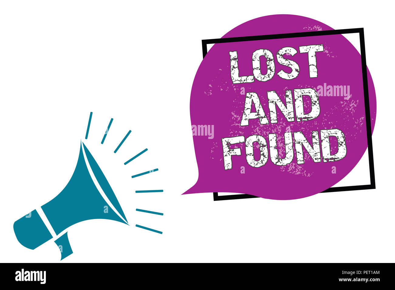 Conceptual hand writing showing Lost And Found. Business photo showcasing Place where you can find forgotten things Search service Megaphone speaking  - Stock Image