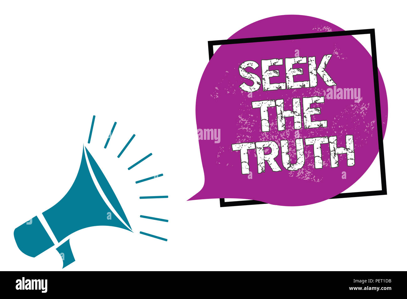 Conceptual hand writing showing Seek The Truth. Business photo showcasing Looking for the real facts Investigate study discover Megaphone speaking lou - Stock Image