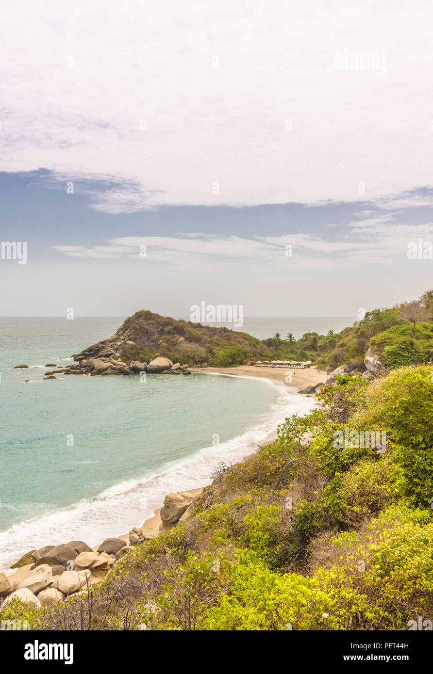 A typical view in Tayrona National Park in Colombia. Stock Photo
