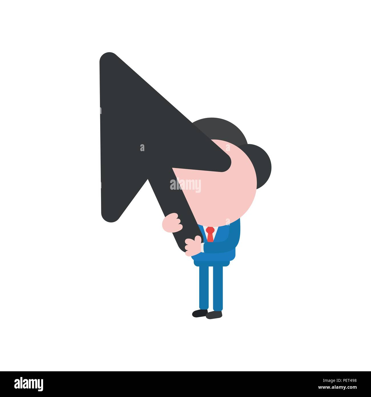 Vector illustration of faceless businessman character holding