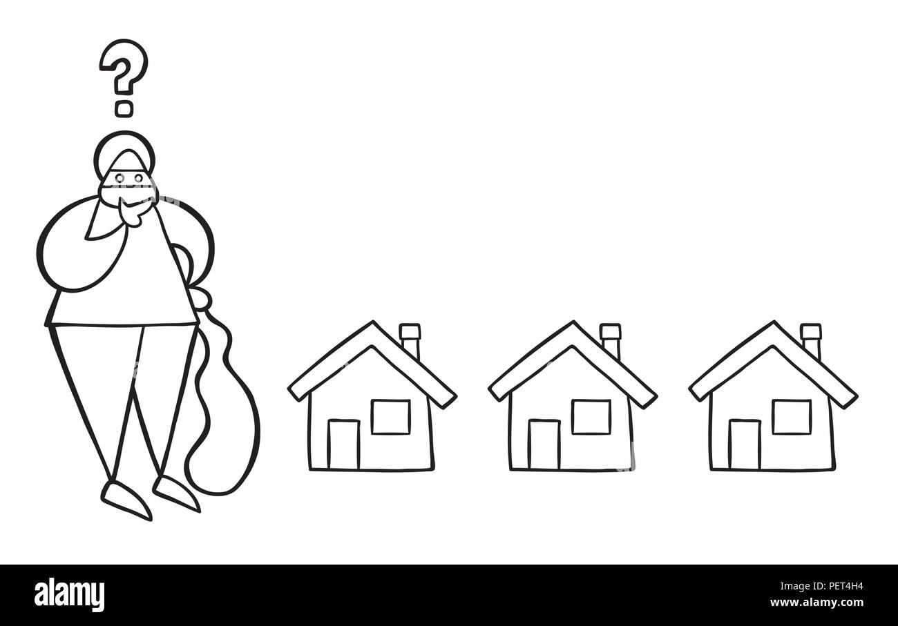Vector illustration cartoon thief man with face masked with sack and thinking which house to choose for theft. - Stock Vector