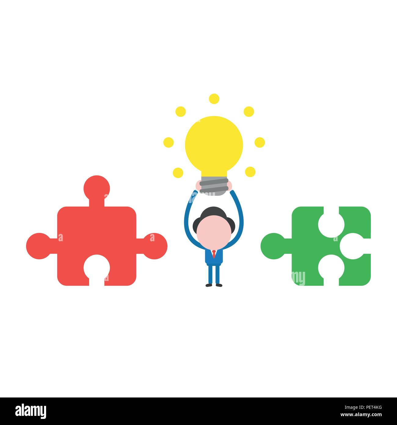 Vector illustration businessman mascot character between incompatible jigsaw puzzle pieces and holding up glowing light bulb idea. Stock Vector