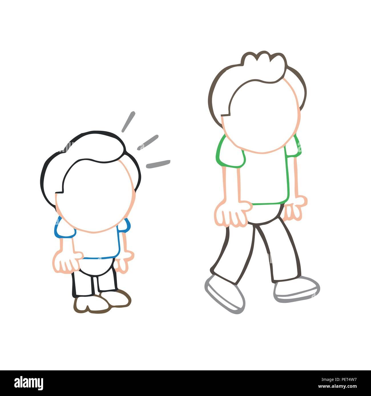 Vector hand-drawn cartoon illustration of short man look and envy tall man. - Stock Vector