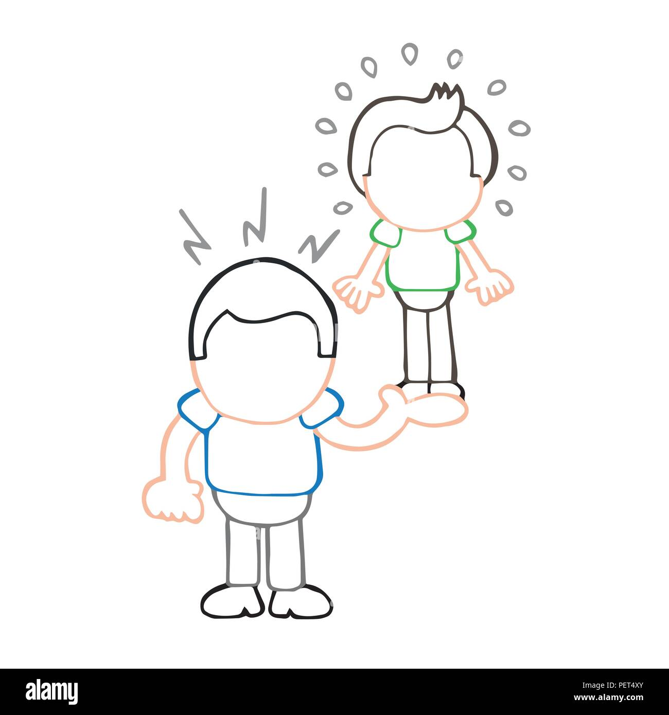 Vector hand-drawn cartoon illustration of muscleman lifting puny guy. - Stock Image