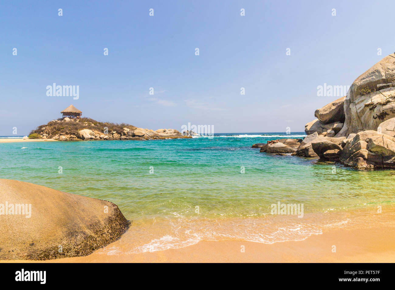 A typical view in Tayrona National Park in Colombia. - Stock Image