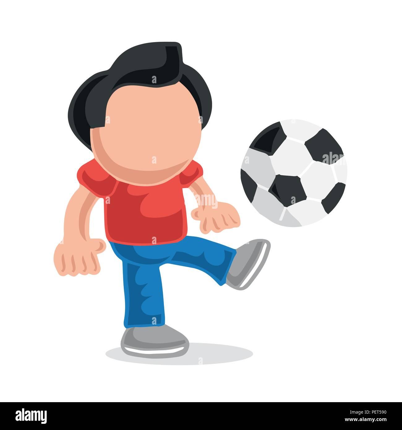 Vector hand-drawn cartoon illustration of man standing kicking playing soccer ball. - Stock Vector