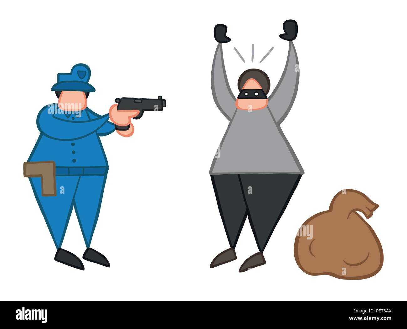 Vector illustration cartoon thief man with face masked and sack was caught by police. Stock Vector