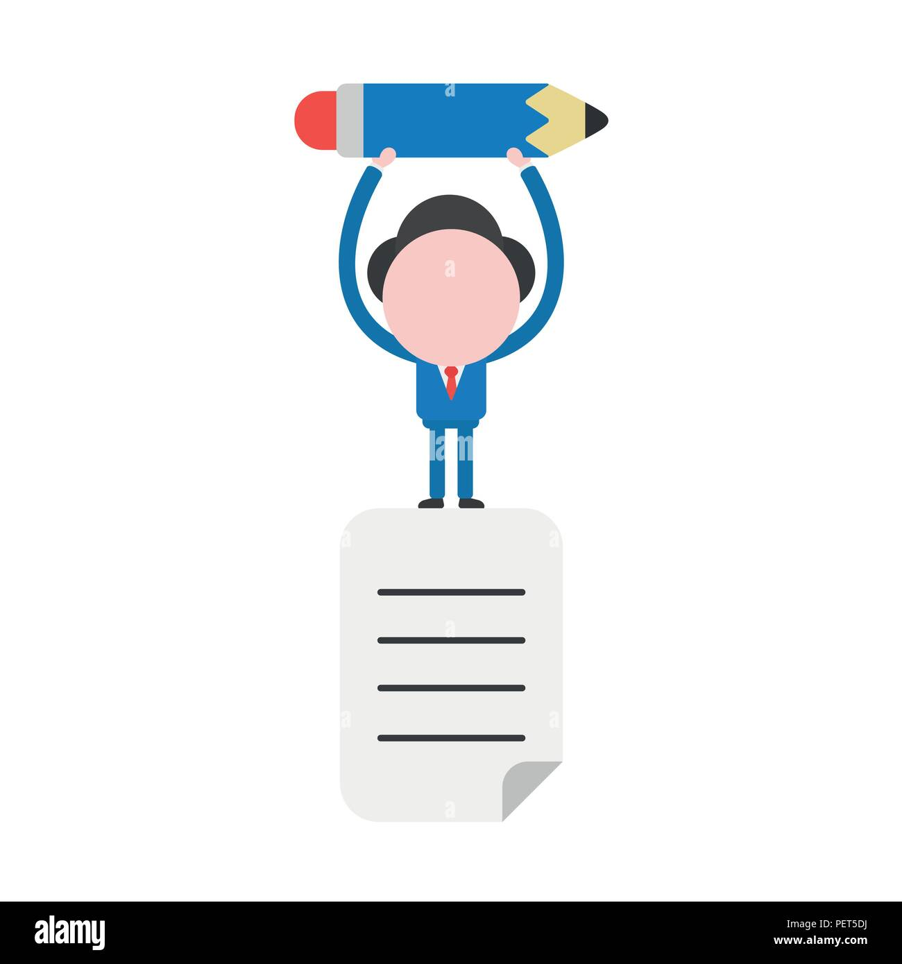 Vector illustration businessman character standing on written paper and holding up pencil. - Stock Vector
