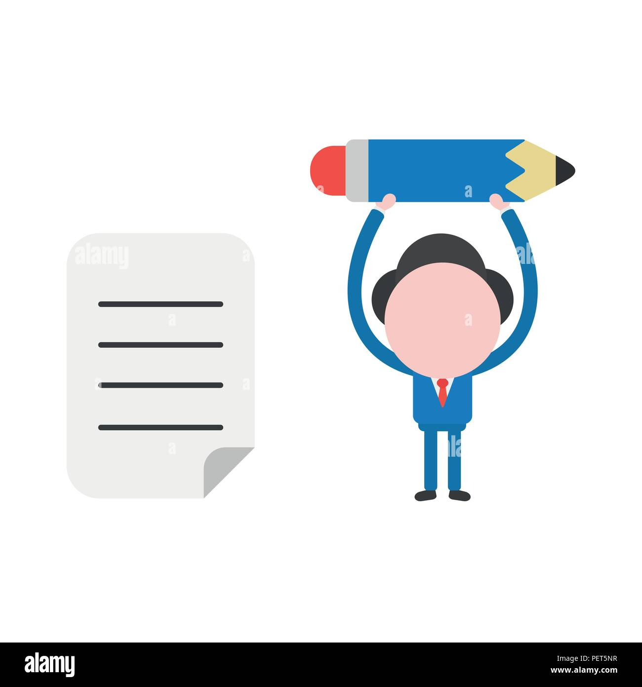 Vector illustration businessman character holding up pencil with written paper. - Stock Vector