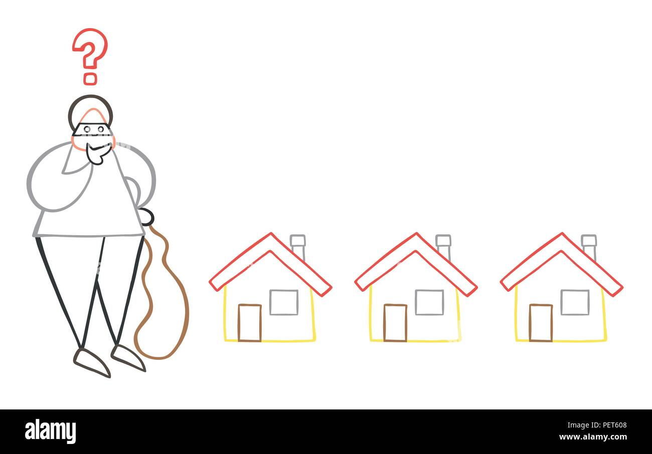 Vector illustration cartoon thief man with face masked with sack and thinking which house to choose for theft. Stock Vector