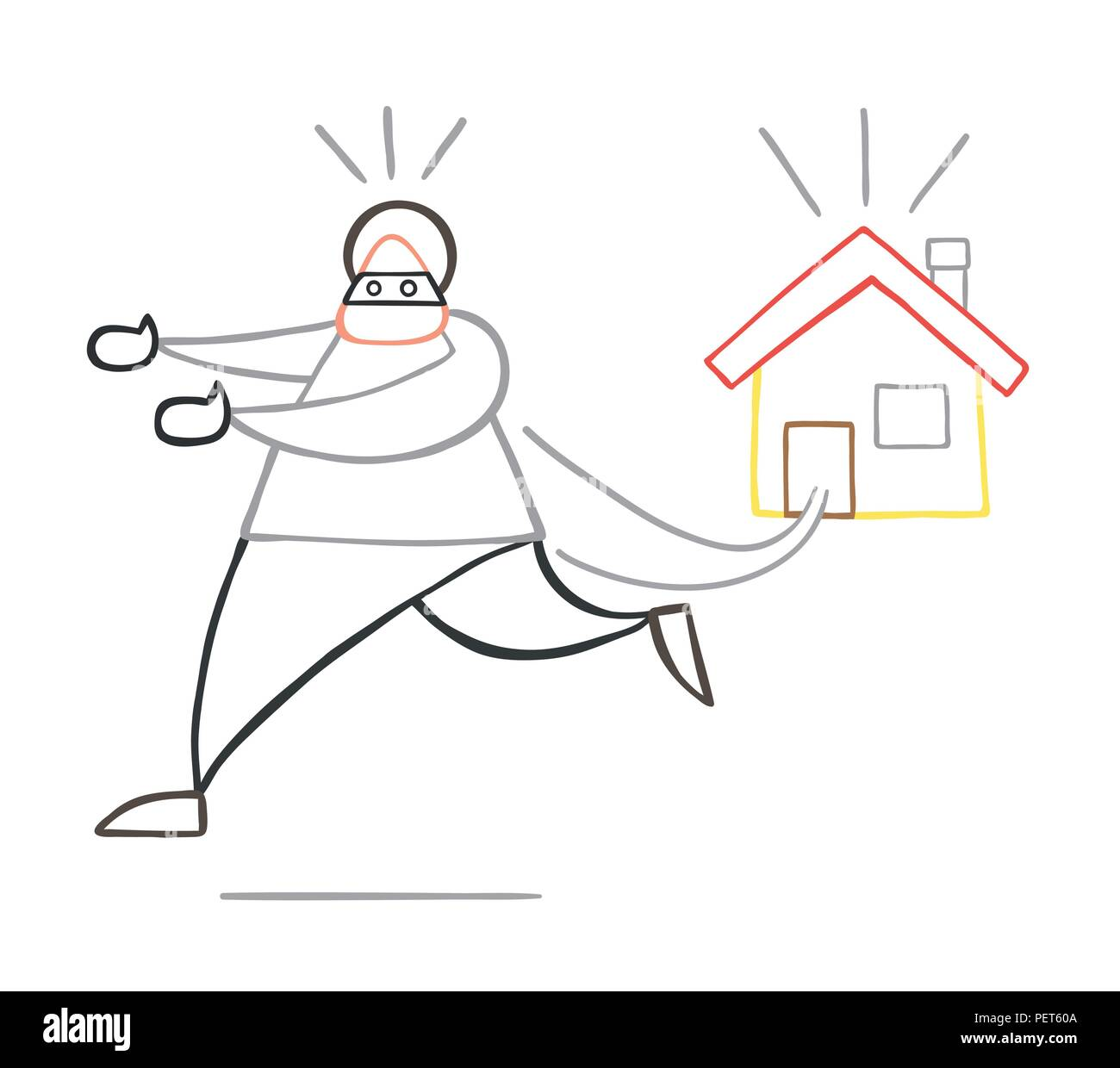Vector illustration cartoon thief man with face masked running away from house. Stock Vector