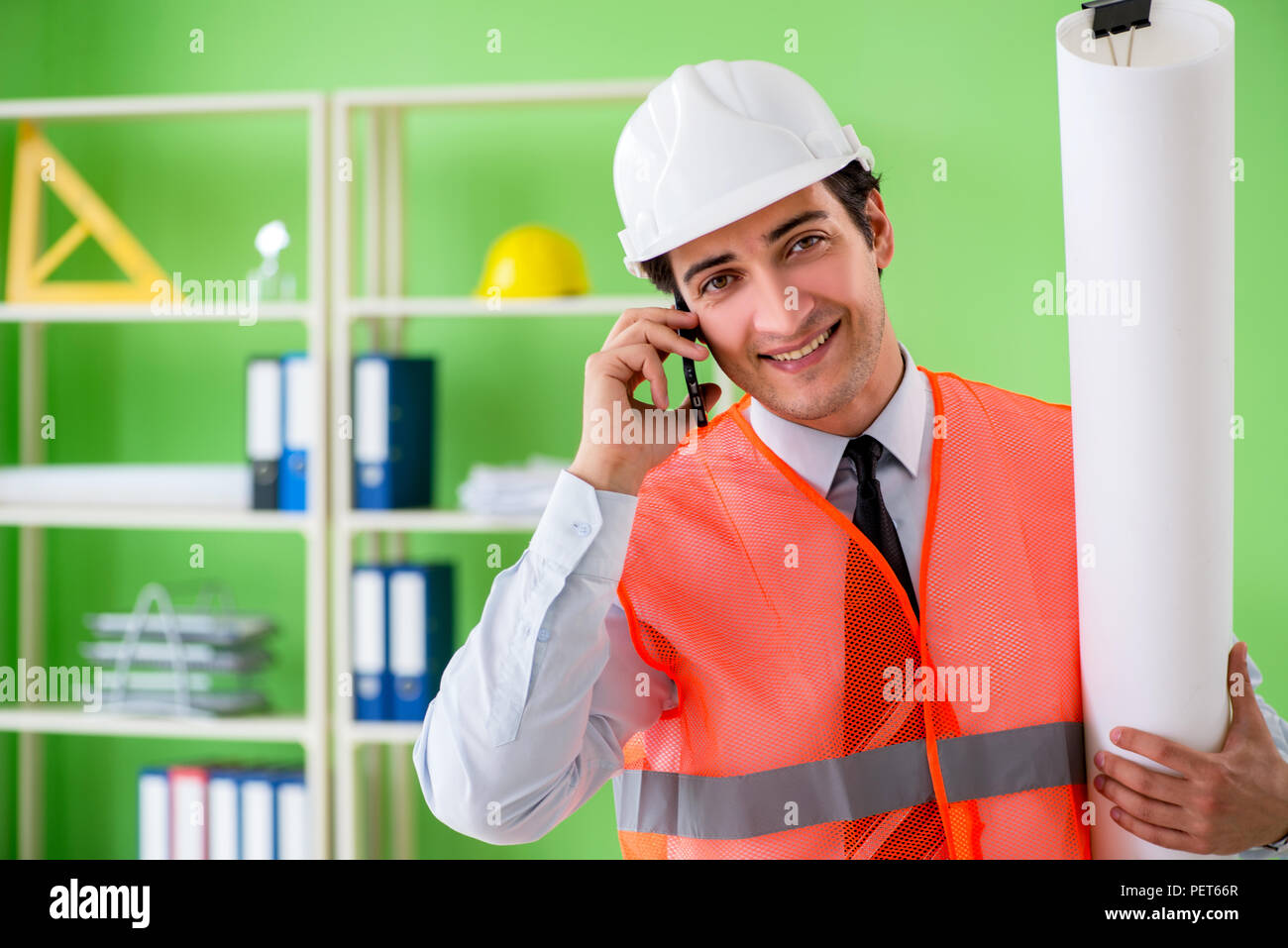 Man architect working on the project Stock Photo