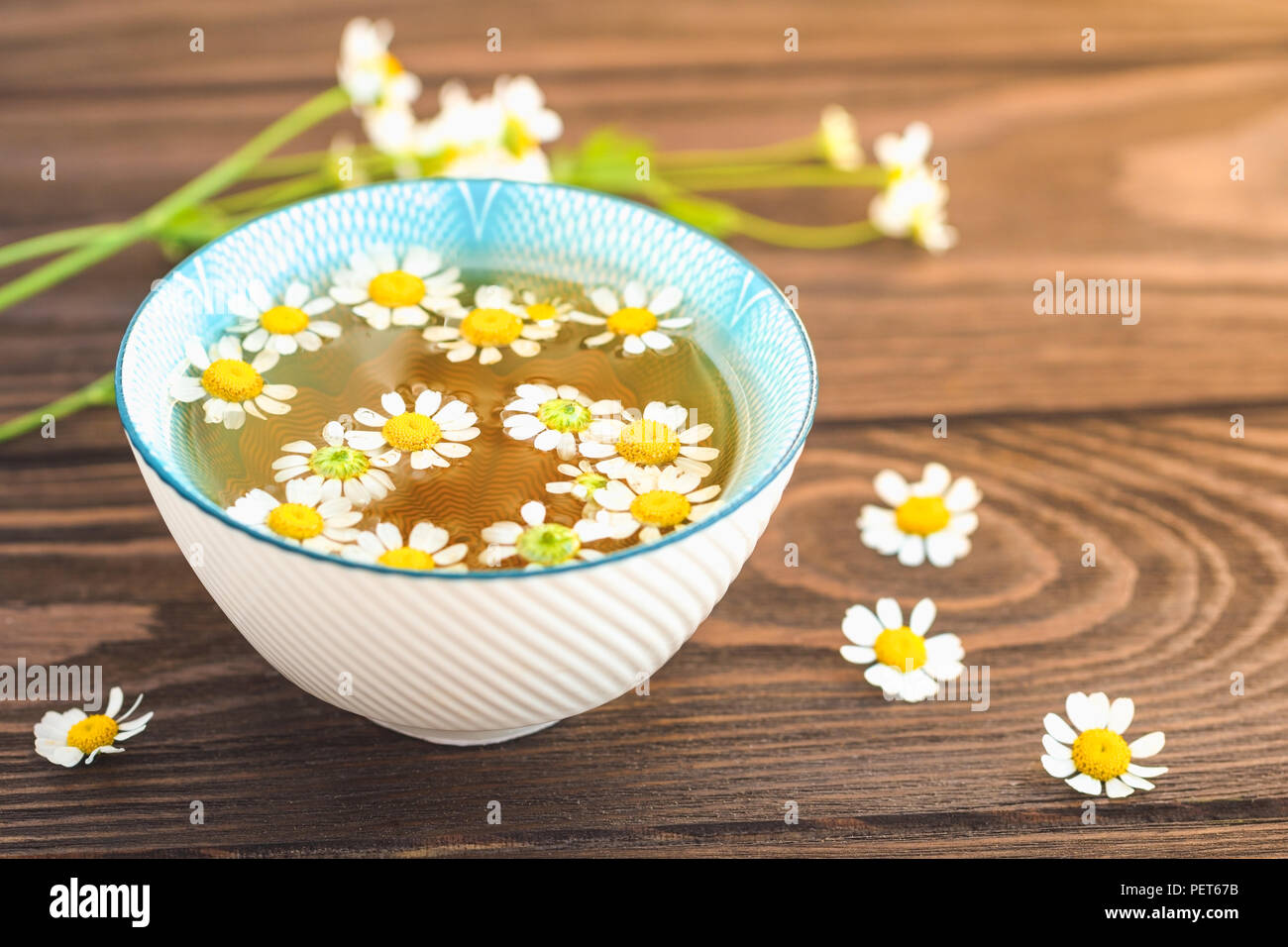 Organic Daisy Tea With Fresh Flowers On A Wooden Table The Concept