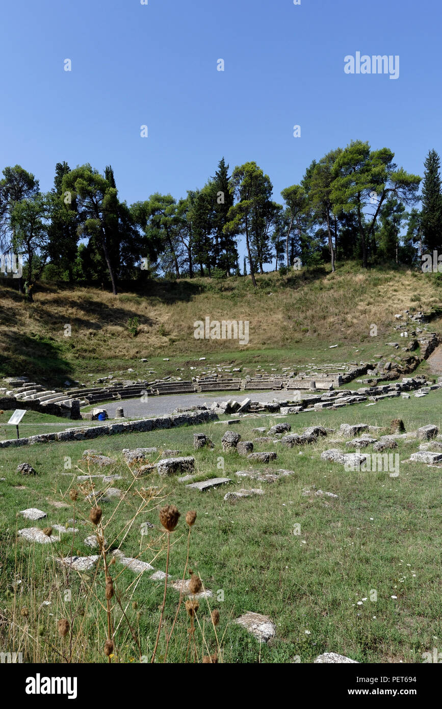 View of the ancient Greek theatre of Megalopolis, Arcadia, central Peloponnese, Greece. The theatre dates to 371 BC and was one of the largest theatre Stock Photo