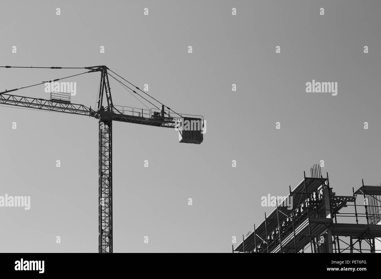 Tower crane - Davit in a construction site (Pesaro, Italy, Europe) - Stock Image
