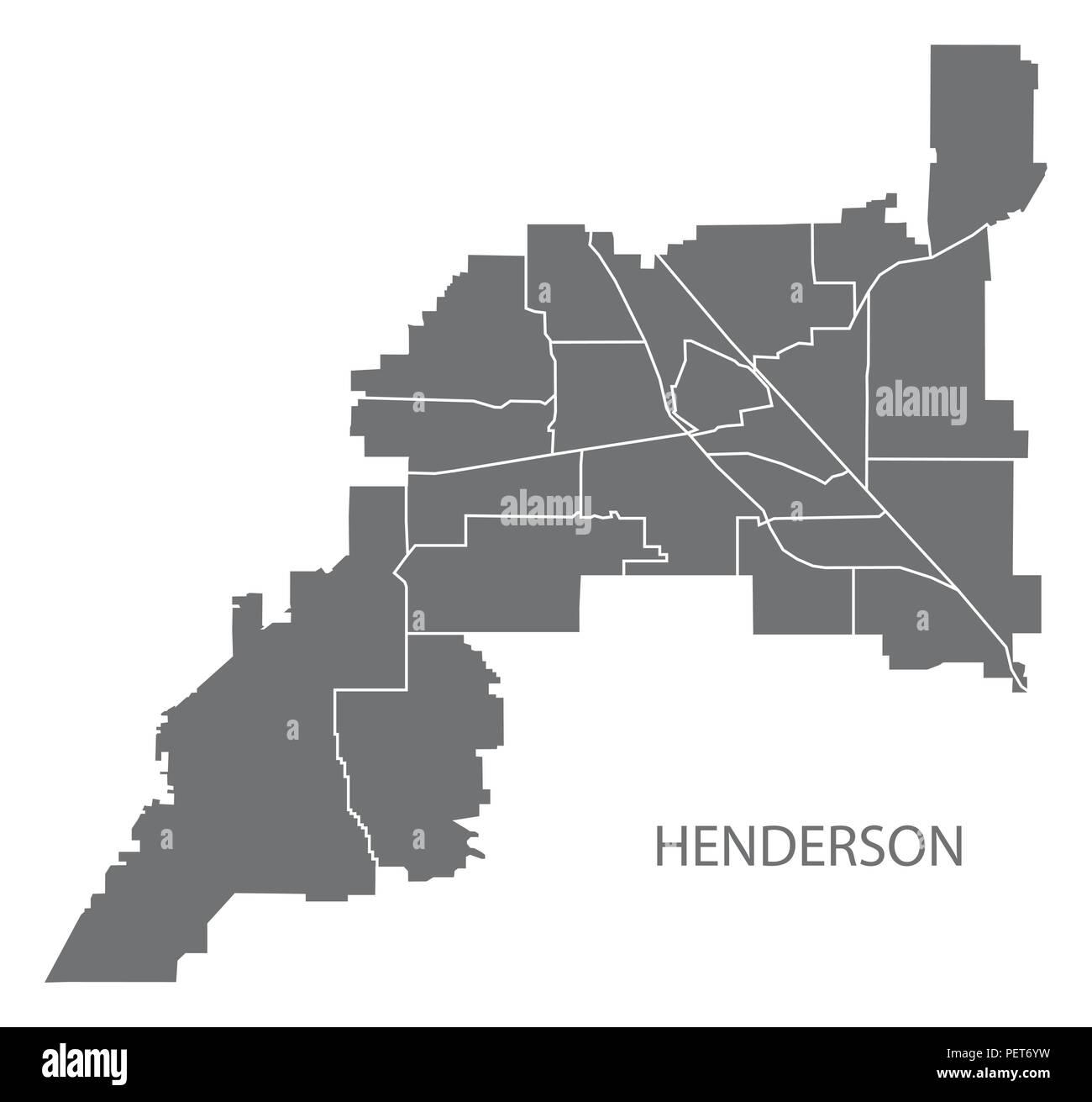 Henderson Nevada City Map With Neighborhoods Grey Illustration Silhouette Shape Stock Vector Image Art Alamy