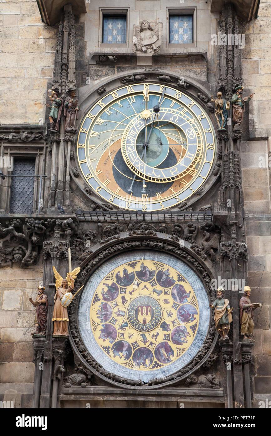 Full Astronomical clock in Prague, Czech Republic - Stock Image