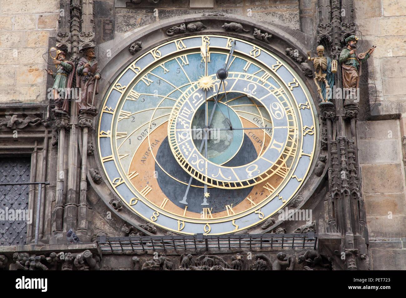 Astronomical clock in Prague, Czech Republic - Stock Image