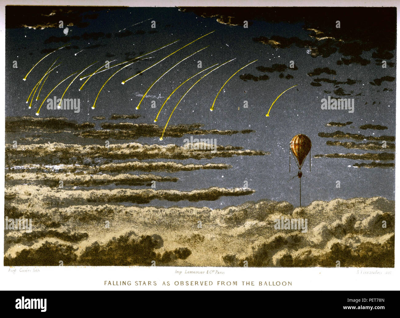 JAMES GLAISHER (1809-1903) English pioneer aeronaut and astronomer. Illustration from his  1871 book Travels in the Air showing a meteor shower. - Stock Image
