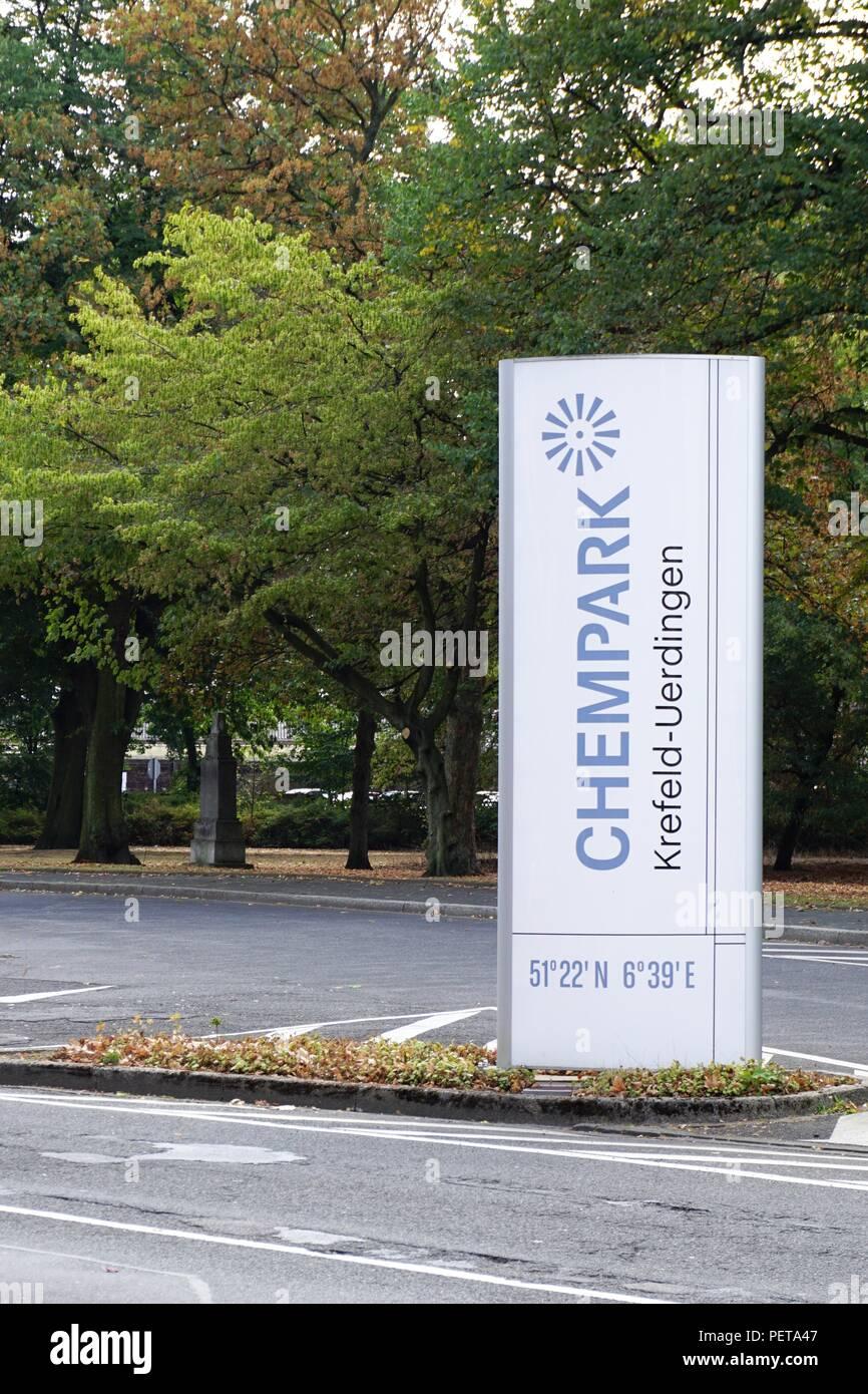 Chempark chemical industry in germany Krefeld Uerdingen - Stock Image